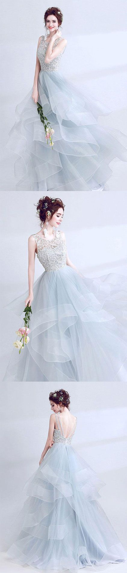 Unique gray round neck tulle long prom dress, gray evening dress, gray formal dresses