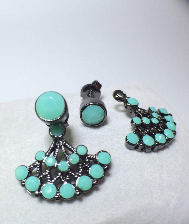 brinco de mini turquesas com banho em ródio negro - jóias resolute