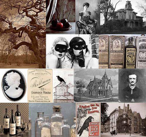 Victorian Halloween with a dash of Tim Burton: Halloween Wedding, Mood Boards, Edgar Allan Poe, Wedding Ideas, The Ravens, Inspiration Boards, Unique Wedding, Wedding Theme, Victorian Era