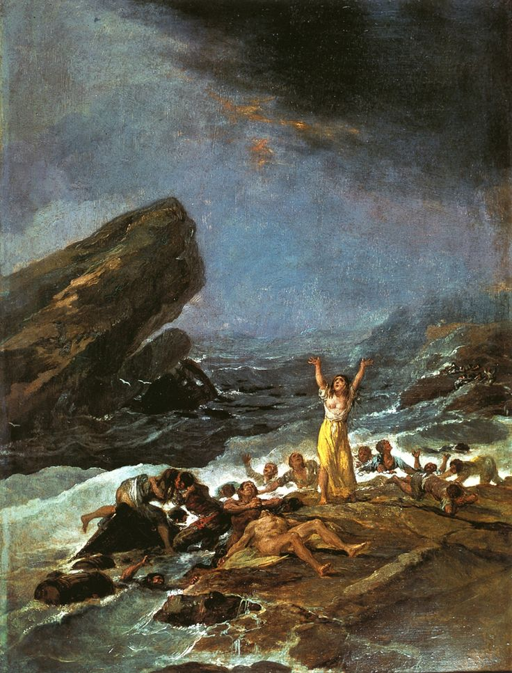 "Francisco de Goya: ""Un naufragio'"". Oil on tin plate, 43,2 x 32 cm, 1793-94. Private collection"