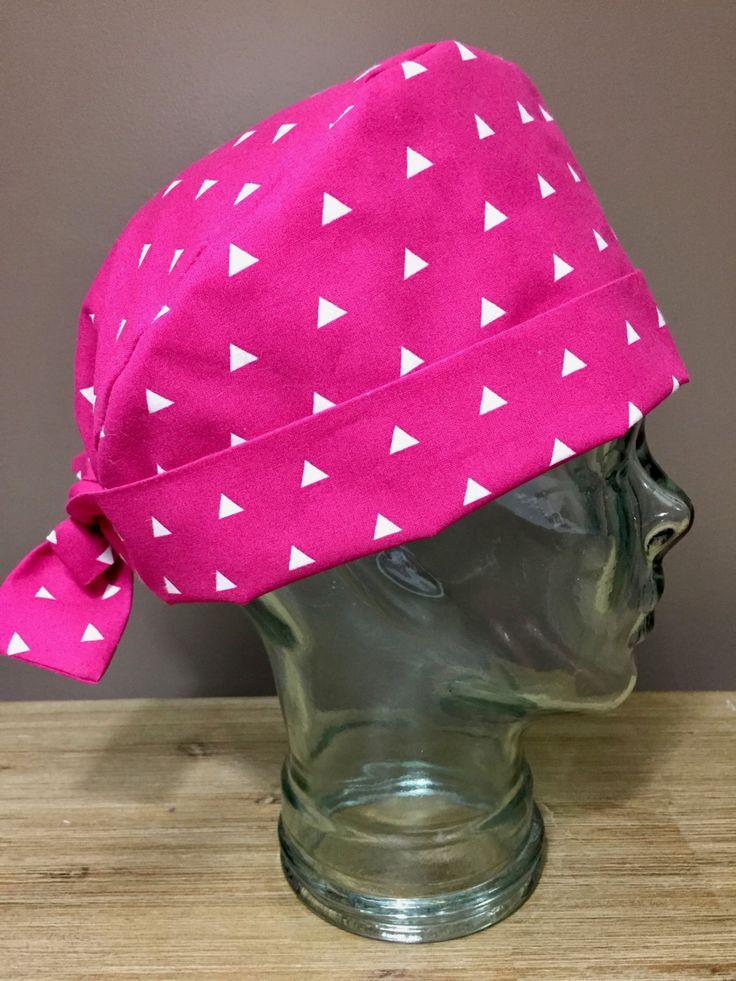 Bright Pink Triangle Surgical Scrub Hat, Women's Modern Pixie Scrub Hat, Custom Caps Company by CustomCapsCompany on Etsy