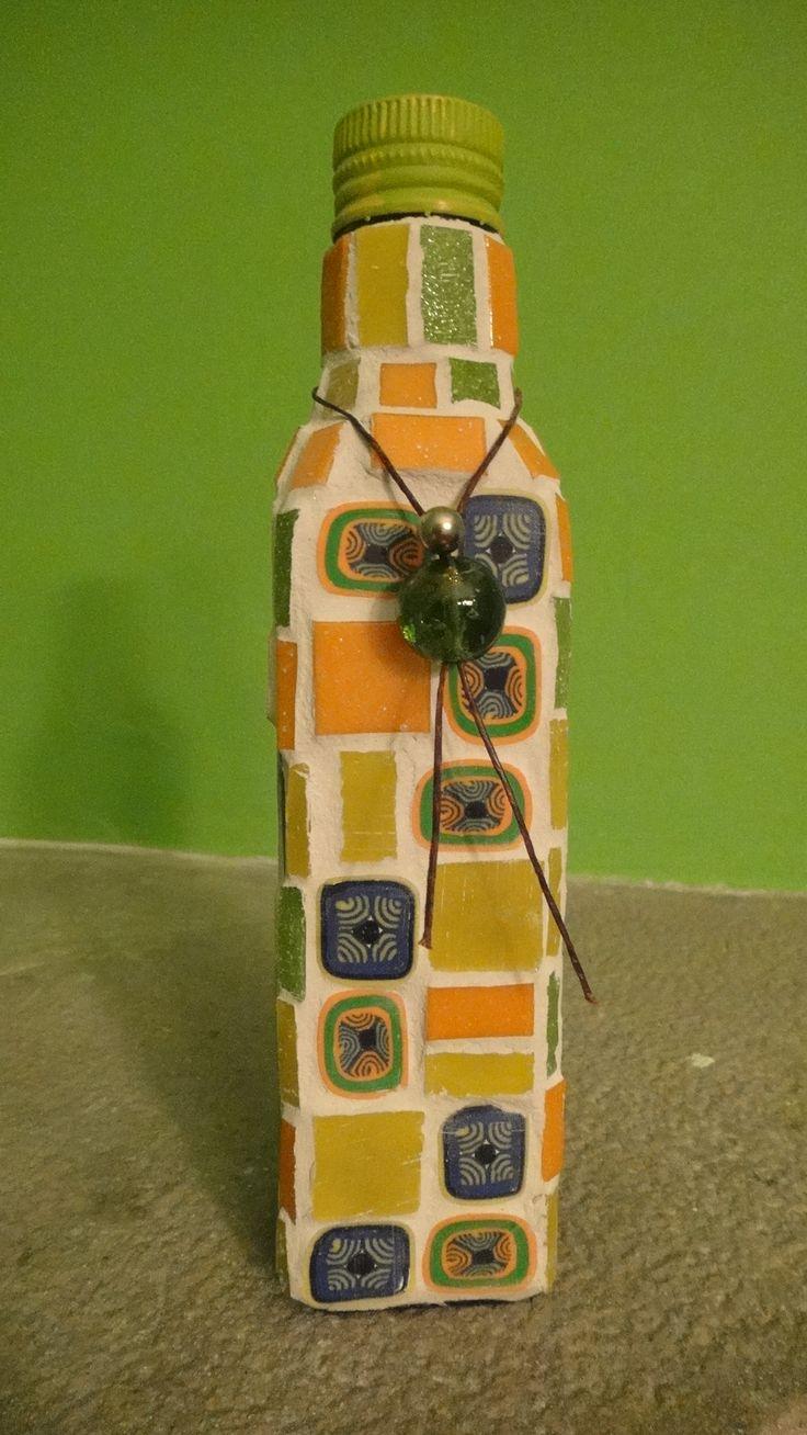 ARCOIRIS MOSAICO  Botella en venecitas y arcilla polimércia