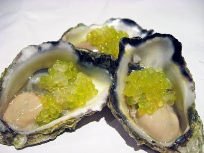 Try these Oysters with Finger Lime Caviar & Black Pepper. Delicious