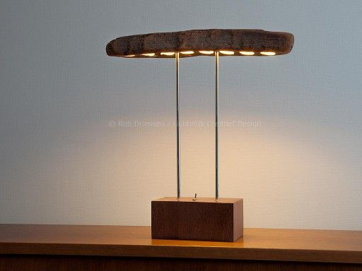 T-lamp, led-lamp made from reused materials (wood-base, chromed brass rods) and driftwood (top). #lightobject #handmade #ledlight #madeinholland  #desklamp #redesign #driftwood #dutchdesign
