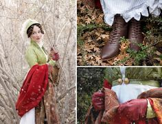 "Maggie is wearing a green silk taffeta spencer and casquette hat, paired with an antique red wool shawl, over a white cotton gown paired with ""Hartfield"" Regency Boots in brown."