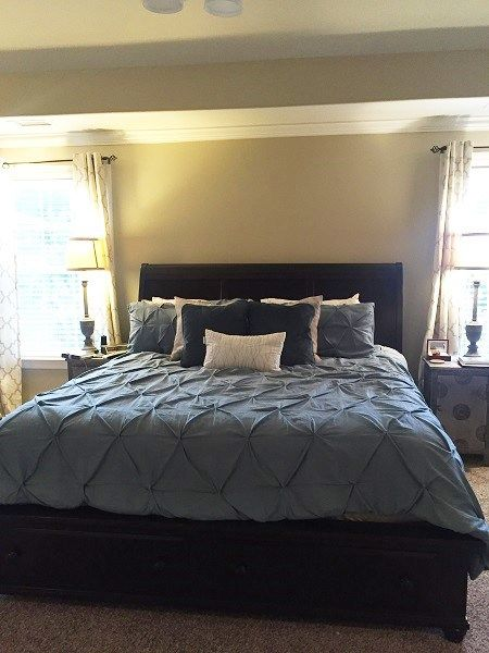 Master Bedroom, King Bed, Target bedding, Homegoods pillow, end tables, Stein Mart lamps