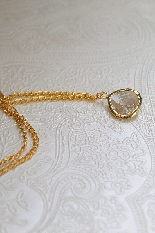 Crystal glass necklace wedding necklace by BatelBoutiqueBridal