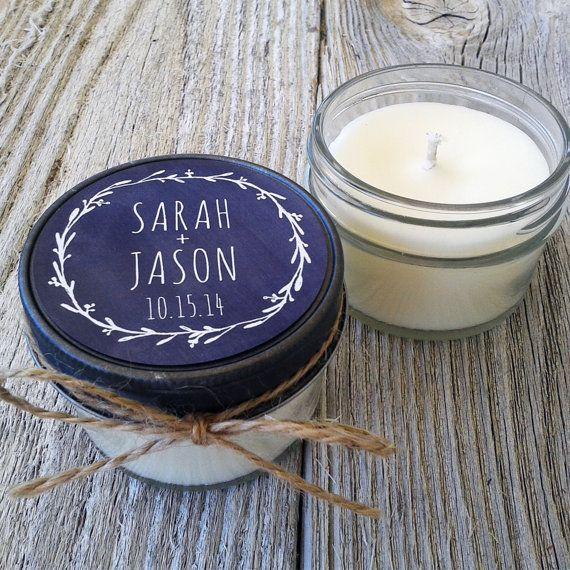 Set of 12 - 4 oz Candle Wedding Favor - Soy - Personalized Wedding Favors // Chalkboard Laurel Wedding Favors