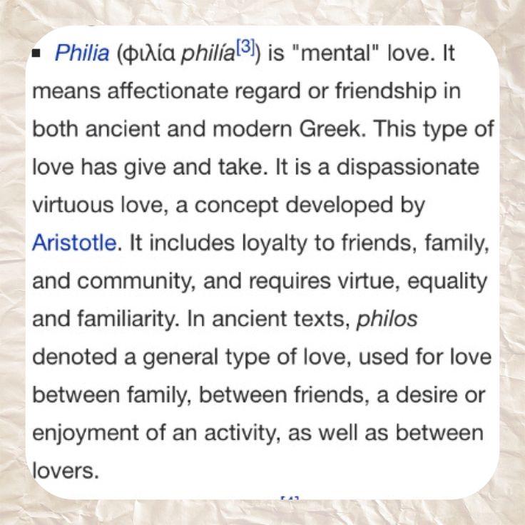 kinds aristotle eros agape love greek