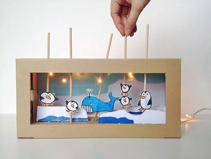 Teatro de cartón reciclado caja de zapatos juguete DIY