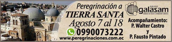 Visitar #TierraSanta es para muchos cristianos un anhelo en sus corazones. Te invitamos a unirte a nuestro grupo de peregrinos en agosto del 7 al 18. Informes 04 2304488 peregrinaciones@galasam.com.ec