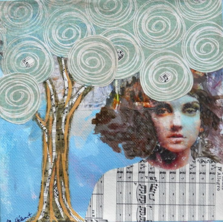Untitled, collage and mixed media on canvas (6 x 6 inches) by Margo Hebert
