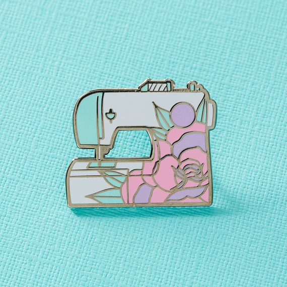 ME-Made Wardrobe Accessories for bomber jacket-Sewing Machine Pin Badge  // Stitching sewing enamel pin