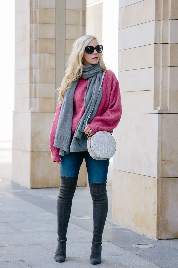 The Perfect Pink Sweater for Valentine's Day: pink and gray outfit, pink sweater with gray scarf and gray over the knee boots