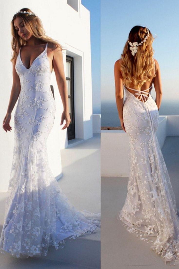 0ba6204a69 Mermaid Sleeveless White Lace Tulle Wedding Dresses - #Wedding Dresses 2019  - Wedding Gown -