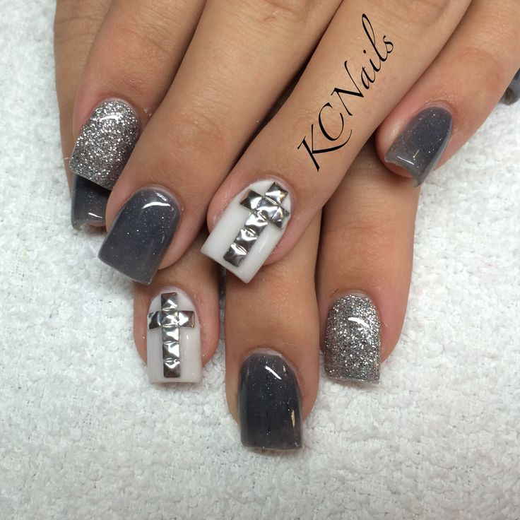 Silver, grey and white acrylic nails. Silver studded cross nails.  KCNails