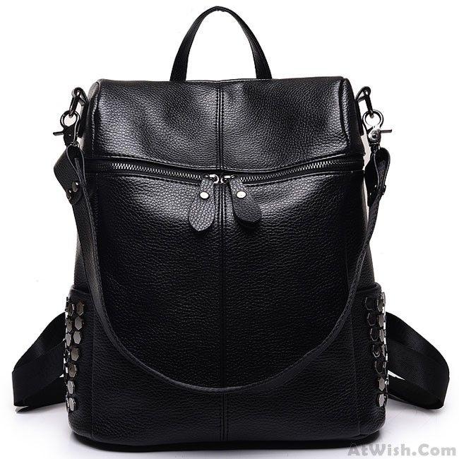 Punk Girl's Black PU Rivets Square Large Multifunction School Backpack Shoulder Bag Travel Backpack