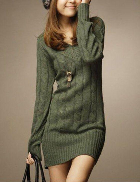 Green Plain V-Neck Long Sleeve Pullover Sweater