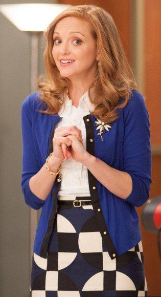 Emma's blue, white and black spot print skirt on Glee.  Outfit Details: http://wornontv.net/11512/ #Glee