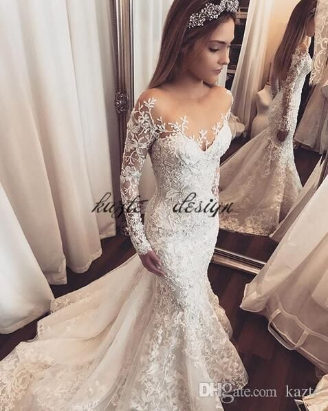 e7c555524aa3 Lace Floral Mermaid Long Sleeve Wedding Dresses 2018 Sheer Neck Amazing  Detail Dubai Arabic Plus Size Custom Wedding Bridal Gowns Mermaid Wedding  Dress Long ...