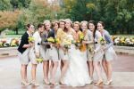 Fall Wedding at Sycamore Farm Bloomington - Style Me Pretty-Cardigans for bridesmaids!