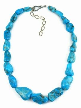 Chunky Turquoise Nugget Necklace - Adjustable Length for $319.00 | Native American Jewelry | Southwest Fashion
