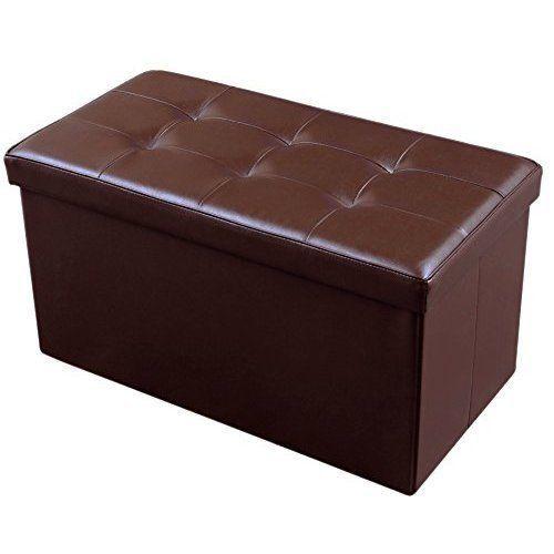 Toy Storage Box Bin Organiser Ottoman Chest Living Room Seat Table Brown NEW #StorageBox