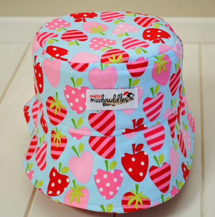 Reversible ponytail hat strawberries