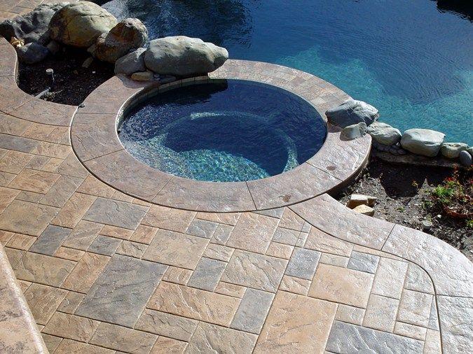 Square stone earth tone concrete pool decks apex concrete for Pool design roseville ca