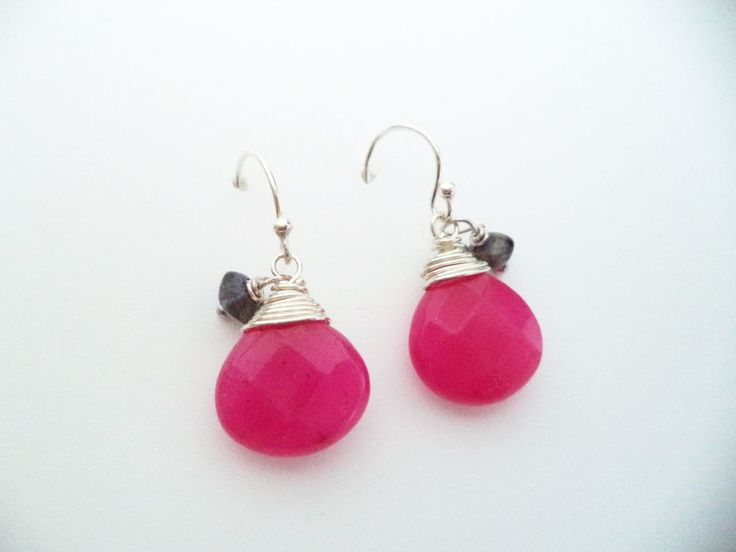 Ohrringe Silber 925 Sterlingsilber Jade und Iolith Hänger Rosa Pink f03