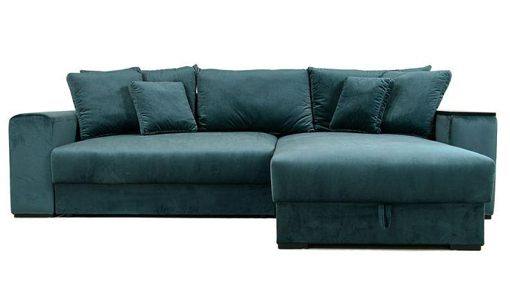 Blå grön Björnen bäddsoffa i sammet. Soffa, bädd, säng, compact living, smart förvaring, divan, schäslong, djup, rymlig, vardagsrum, sovrum, möbler, möbel, inredning.