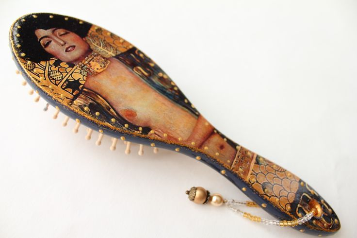 Decorated wooden hairbrush, Gustav Klimt collection, Judith, Art Nouveau Style.Handmade item.FREE SHIPPING. https://www.etsy.com/listing/242166757/decorated-wooden-hairbrush-gustav-klimt?ref=shop_home_active_8