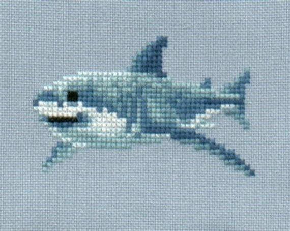 Great White Shark cross stitch chart by 5PrickedFinger5.  Four different (but similar) shark cross stitch patterns available for sale in this Etsy store.