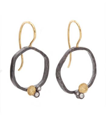 Todd Pownell: Circle Earrings, In oxidized sterling silver, with 5mm discs of 18k gold and 2 inverted diamonds each. 18k gold ear wires. App...
