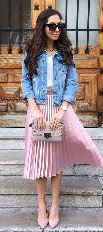 what to wear with a midi skirt : denim jacket + top + bag + heels