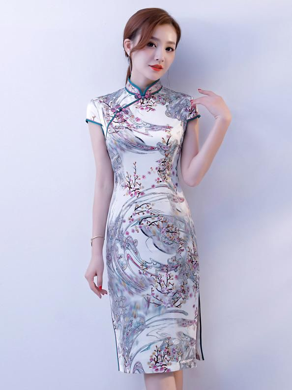 d03ea5dc6656 Vintage Silk Stand-collar Short Cheongsam in 2019 | Short cheongsams ...