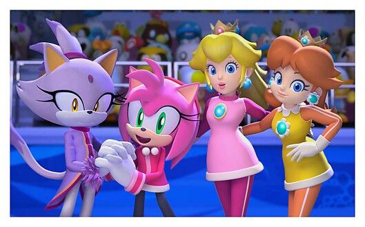 girls characters art mario sonic at the olympic winter