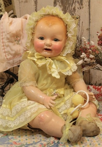 "Big 26"" Horsman Dimples Baby Doll Composition cloth antique old vintage"