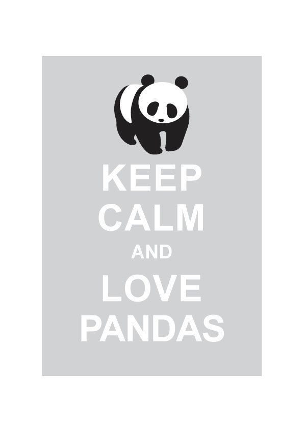 Keep Calm and Love Pandas : Light Grey - Wedding Birthday Anniversary Gift Children Decor Kids Room Home Decor - BUY 2 Get 1 Free. $10.80, via Etsy.
