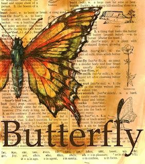 Mixed Media Butterfly Drawing on Distressed Dictionary Page