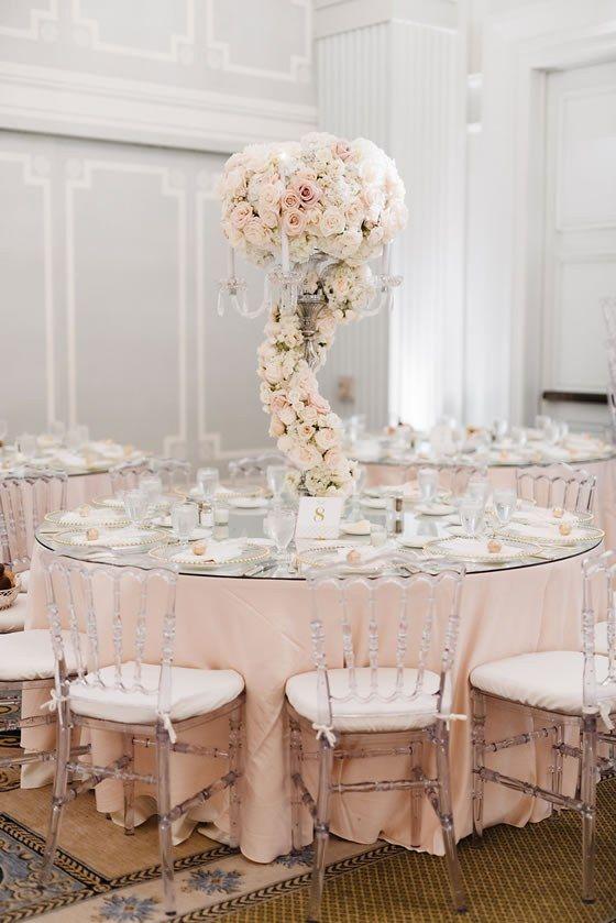 We love pale pink table linens! Casa del Mar Santa Monica Weddings in Los Angeles.