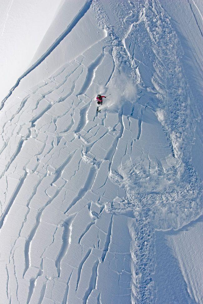 Andrea Binning at Knight Inlet, British Columbia, Canada. Photo by Mark Gallup. #ski