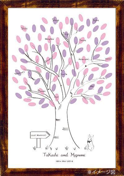 Wedding Tree【Rabbit】Finger Print ウエディングツリー うさぎ|その他 結婚式ペーパーアイテムや披露宴のパンフレット形の席次表など。こだわりブライダルのお手伝いトゥルーハートイズプット。