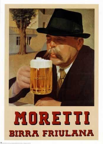Moretti birra friulana | Vintage food & drink poster | Retro advert #Vintage #Retro #Posters #Affiches #Food #Drinks #Carteles #deFharo #Ads