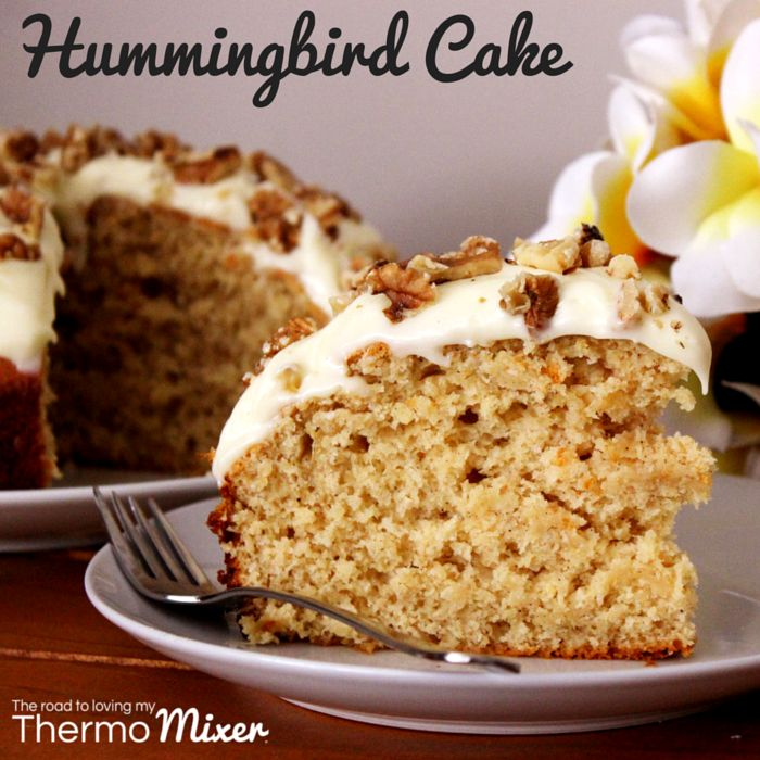 Hummingbird Cake always reminds me of childhood. When my childhood best friend had a birthday her Mum would often buy a Hummingbird Cake. Boy did