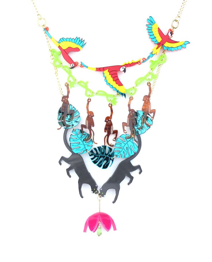 Flora and fauna statement necklace, The jungle is a live show from the ground to the sky! Starting with a beautiful flower that grows from the fertile ground upon which panthers are running, and leading to a sinuous shaped leaves and vines the cheeky monkeys use to move around the heights. Discover the impressive and colourful parrots that overfly the jungle spreading their wings.