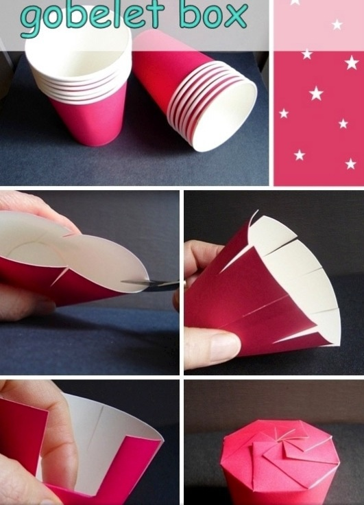 DIY goblet box for snacks made from red paper cups (cc @Brit Morin Morin Morin Morin ) #craft