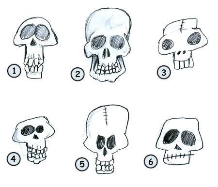 How to draw cartoon skulls step 4