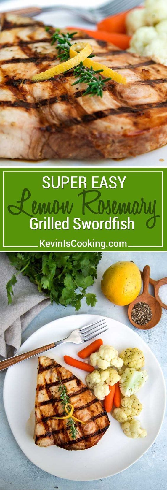 This simple and easy Lemon Rosemary Grilled Swordfish marinates with fresh rosemary, garlic, melted butter, lemon juice & zest and then is grilled quickly. via @keviniscooking #seafood #swordfish