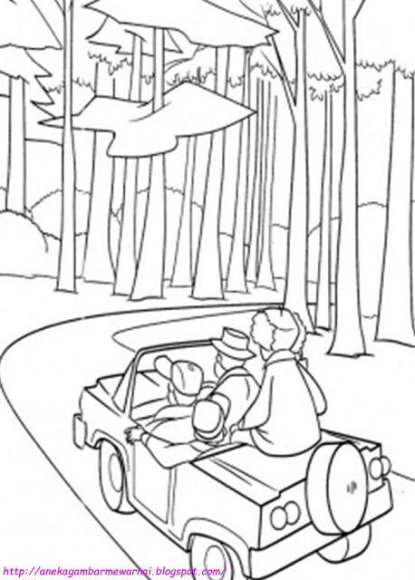 Aneka Gambar Mewarnai - Gambar Mewarnai Mobil di Hutan Untuk Anak PAUD dan TK.   Untuk gambar keinda...